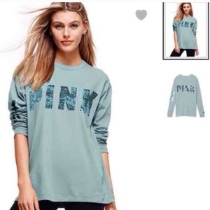 VICTORIA'SSECRET PINK BLING CAMPUS LONG SLEEVE TEE